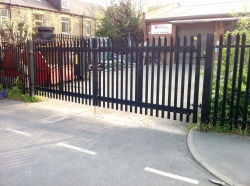 Steel Security fencing installed at a commercial Property in West Yorkshire