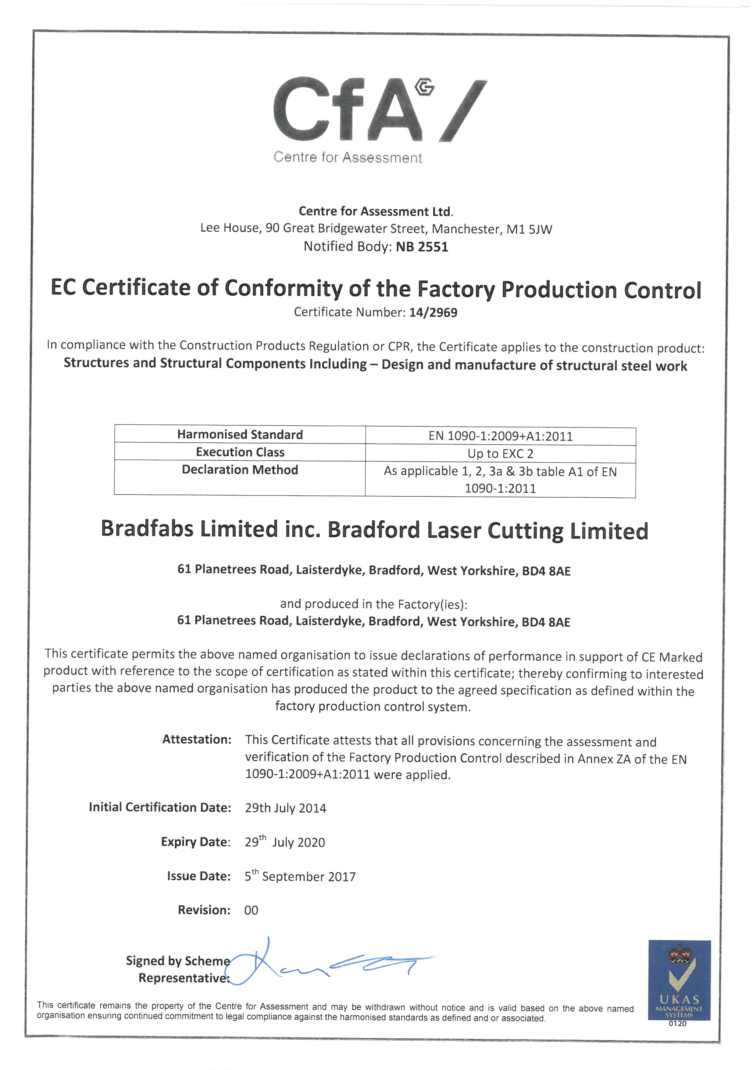 Bradfabs CE Approved Steel Fabrication Company