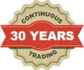 Continuous 25 Years Trading Stamp
