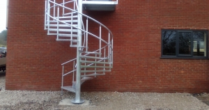 Steel spiral staircase fabricated by bradfabs, external spiral staircase installed in bradford, steel staircase in bradford