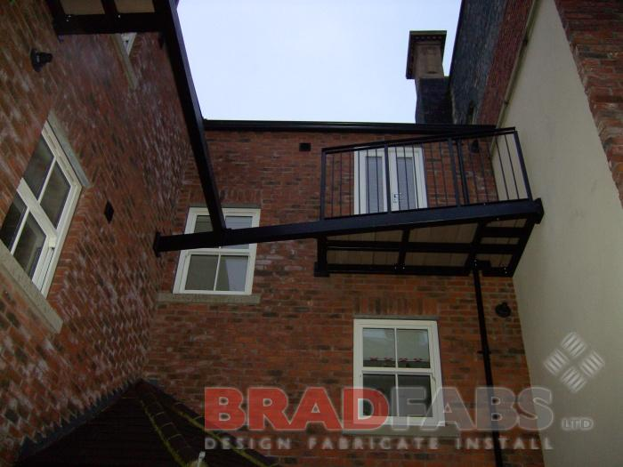 This photos shows some support for the new balcony for our customer on the top floor of some modern flats