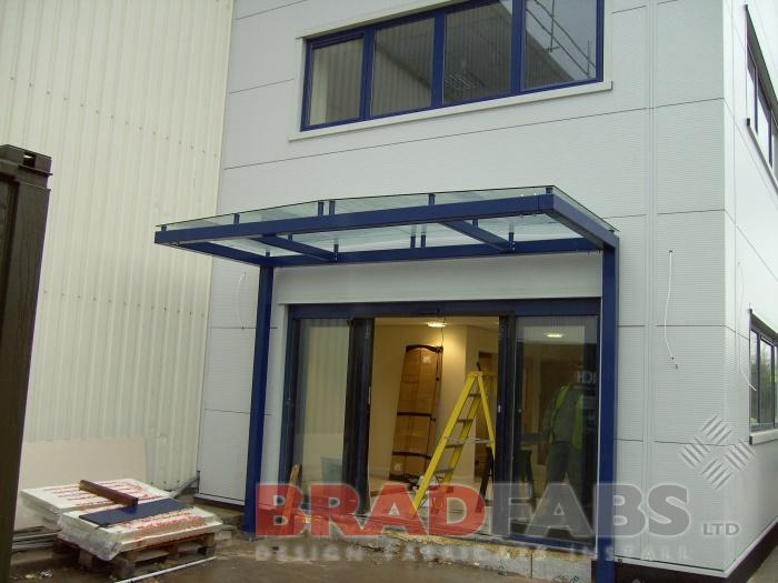 Canopy to provide Shelter at a main entrance to an office in Tingley West Yorkshire