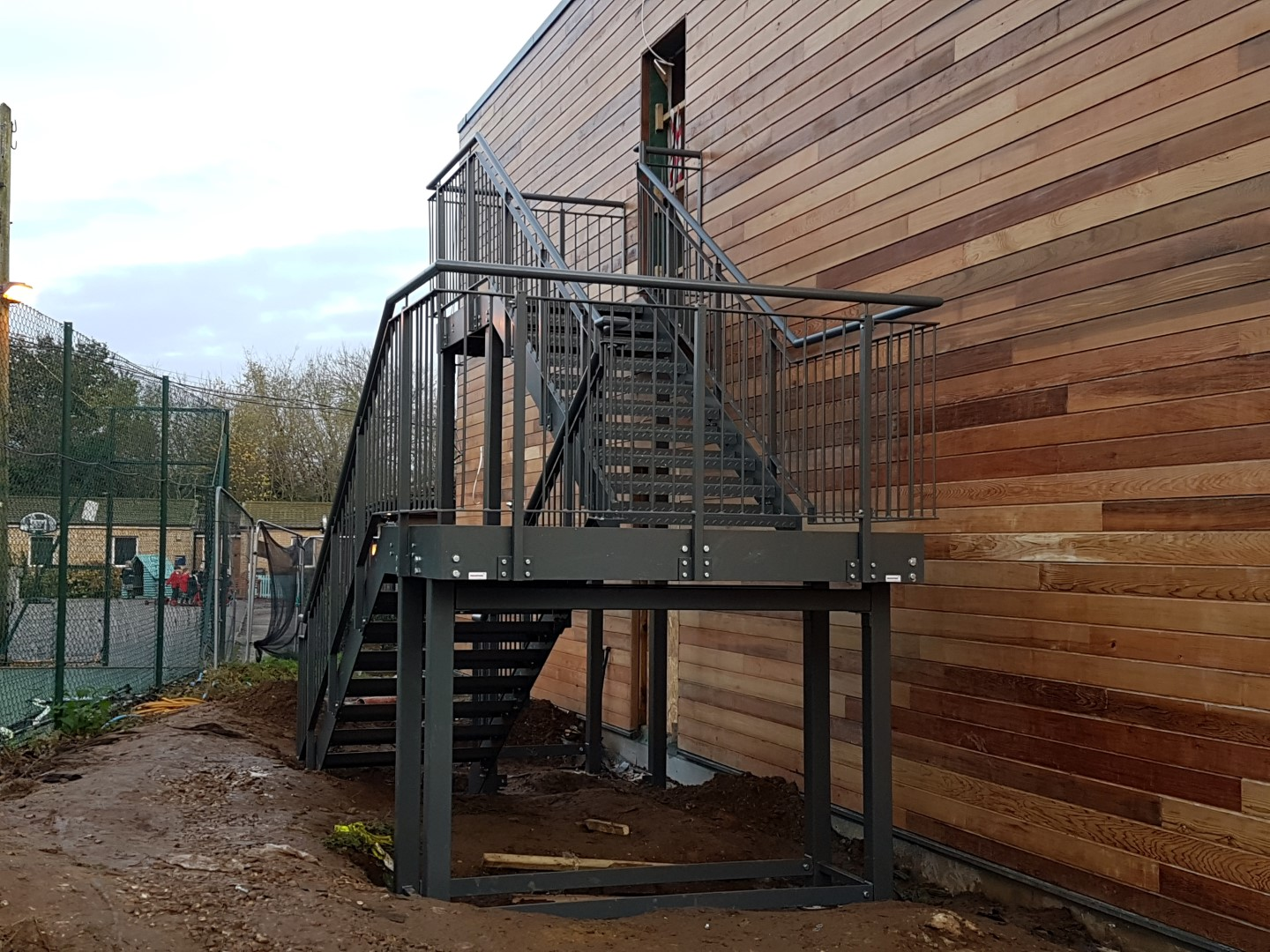 School external fire escape staircase manufactured by Bradfabs