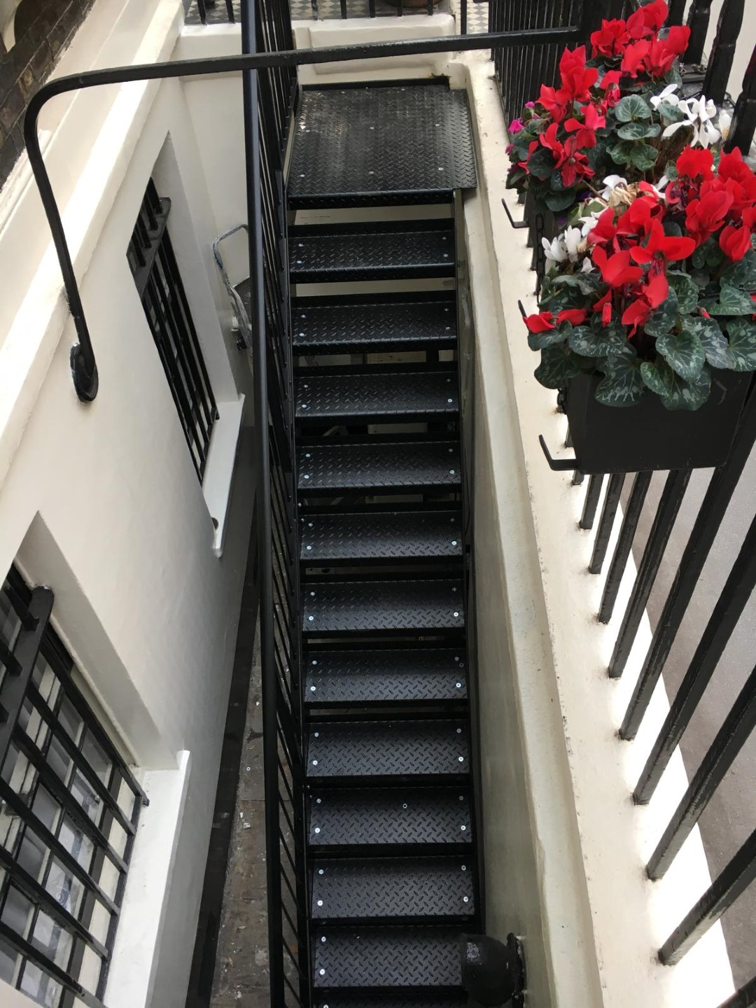 Fire escape manufactured, designed and installed by Bradfabs in London for a hotel
