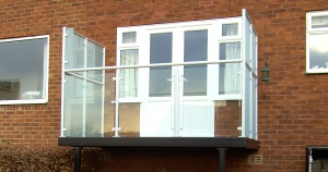 Domestic Balcony with Frosted Privacy Glass for Building Regulations