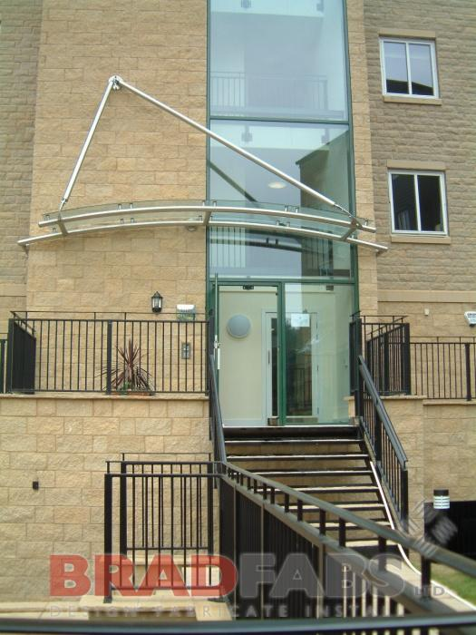 Glass curved Canopy Uk Yorkshire Bradford