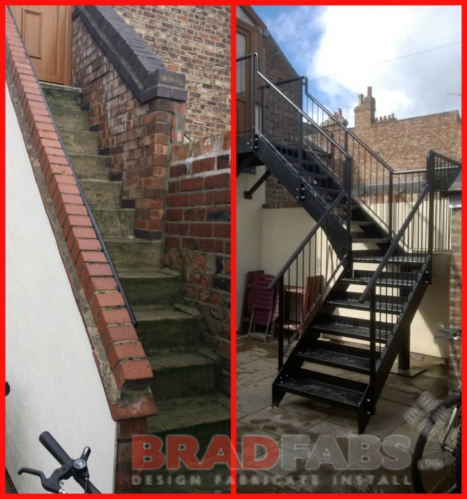 Before and after photos of fire escape manufactured by Bradfabs