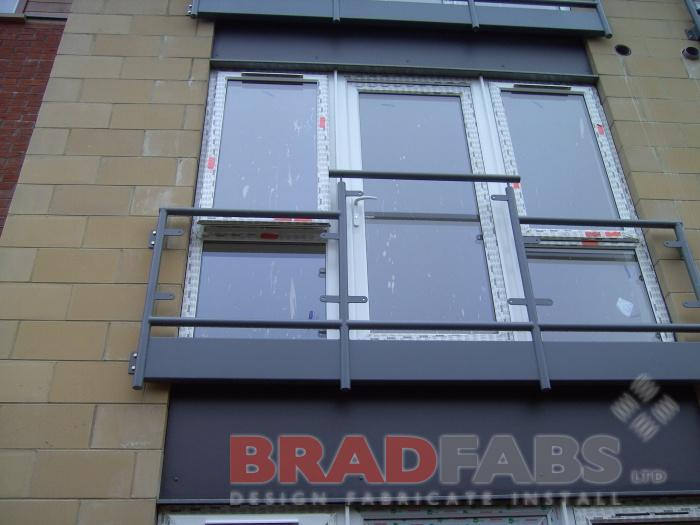 Steel and Glass Balconettes fabricated in Bradford, Balconettes in Bradford, Balconettes supplied and fitted