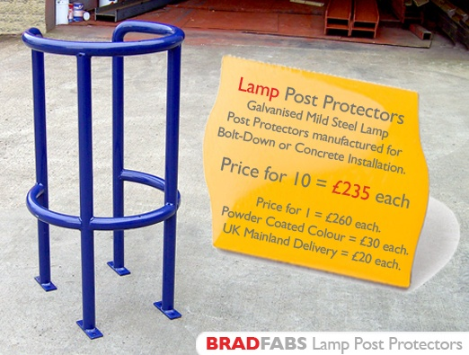 lamp post protector fabricated by bradfabs in england