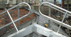 Steel roof walkway with handrail installed on the roof of leeds town hall