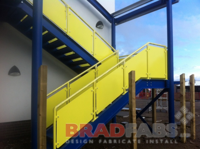 installed and supplied by Bradfabs - brightly coloured fire escape