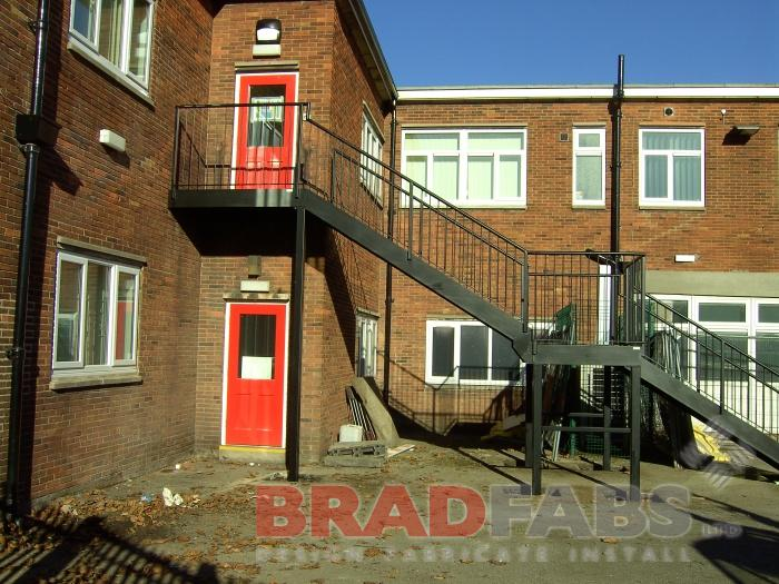 Straight Steel Staircase Fabricated in Bradford