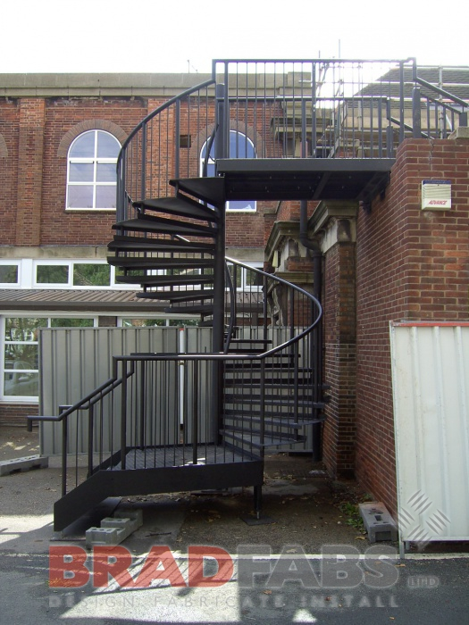 Metal external fire escape, powdered coated to colour of your choice by Bradfabs