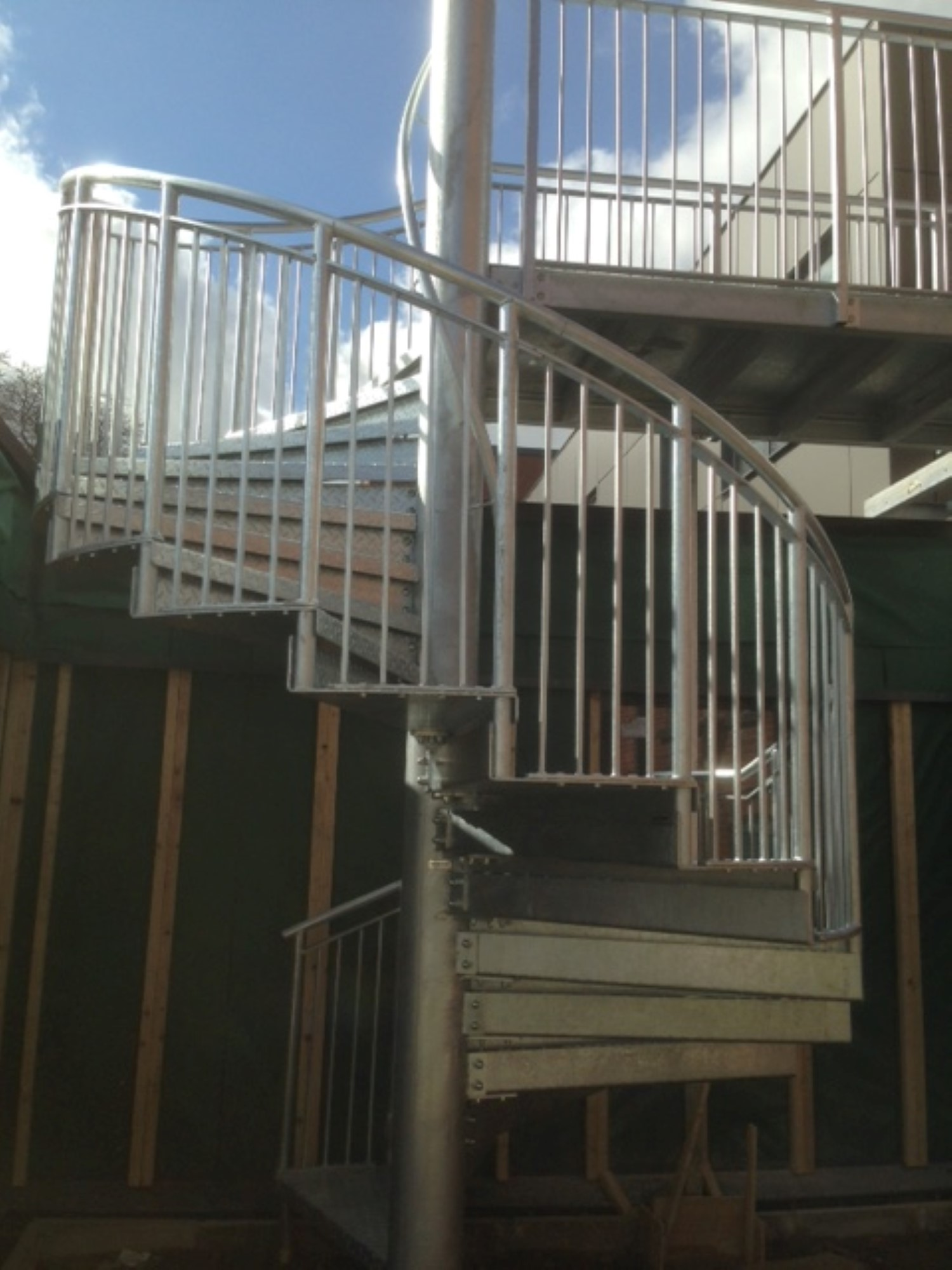 Modern spiral staircase manufactured by Bradfabs