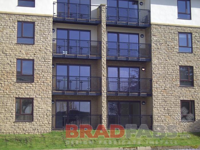 Steel Apartment Balcony fabricated by BRADFABS and installed in Leeds.