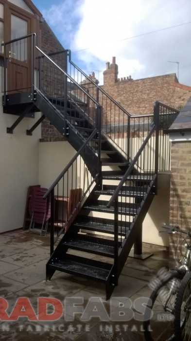 powder coated black stairs