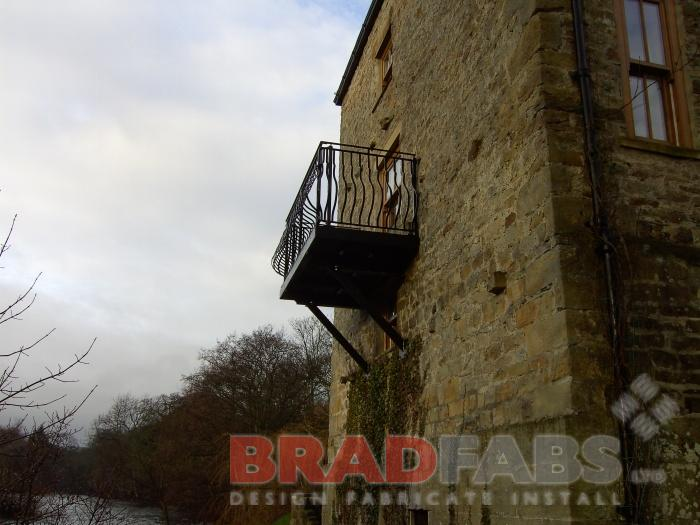 Mild steel balcony, galvanised balcony, nose and belly balustrade, powder coated black