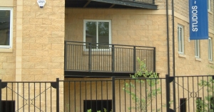 Steel Apartment balcony fabricated by BRADFABS in England.