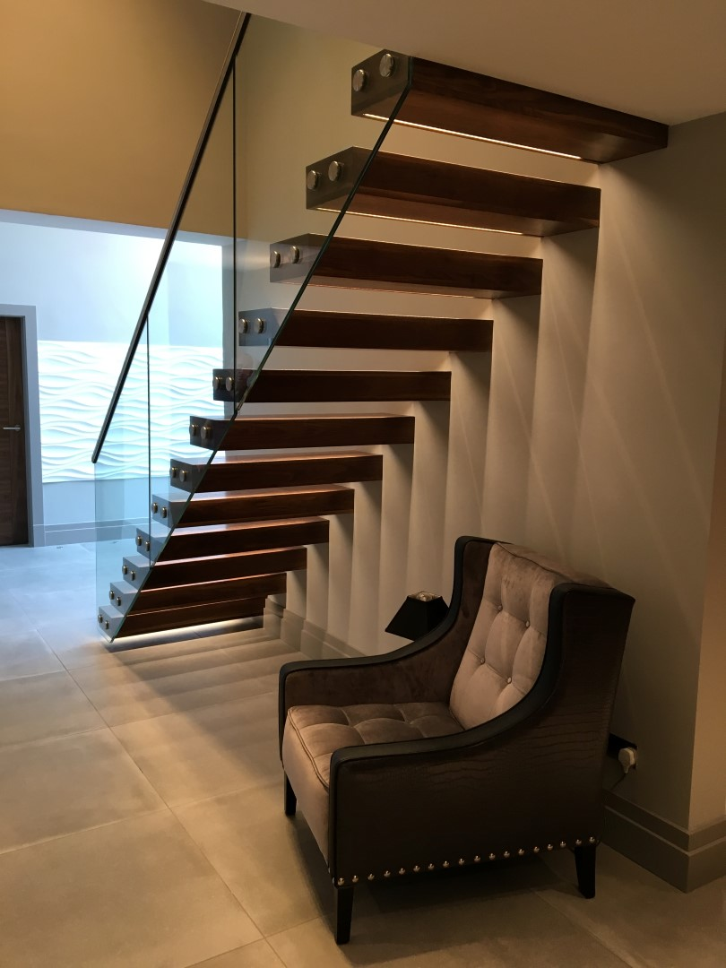 Straight staircase manufactured and designed by Bradfabs