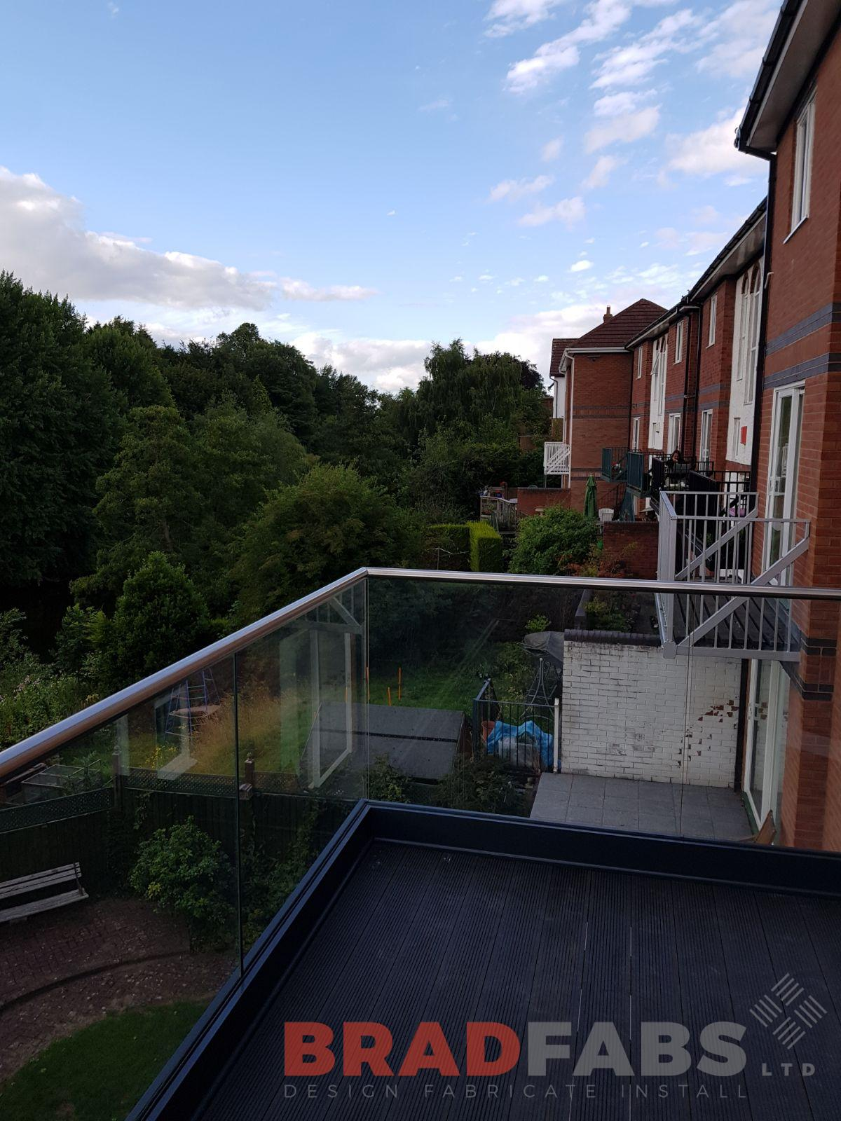 stainless steel top rail, channel system glass balustrade designed by bradfabs