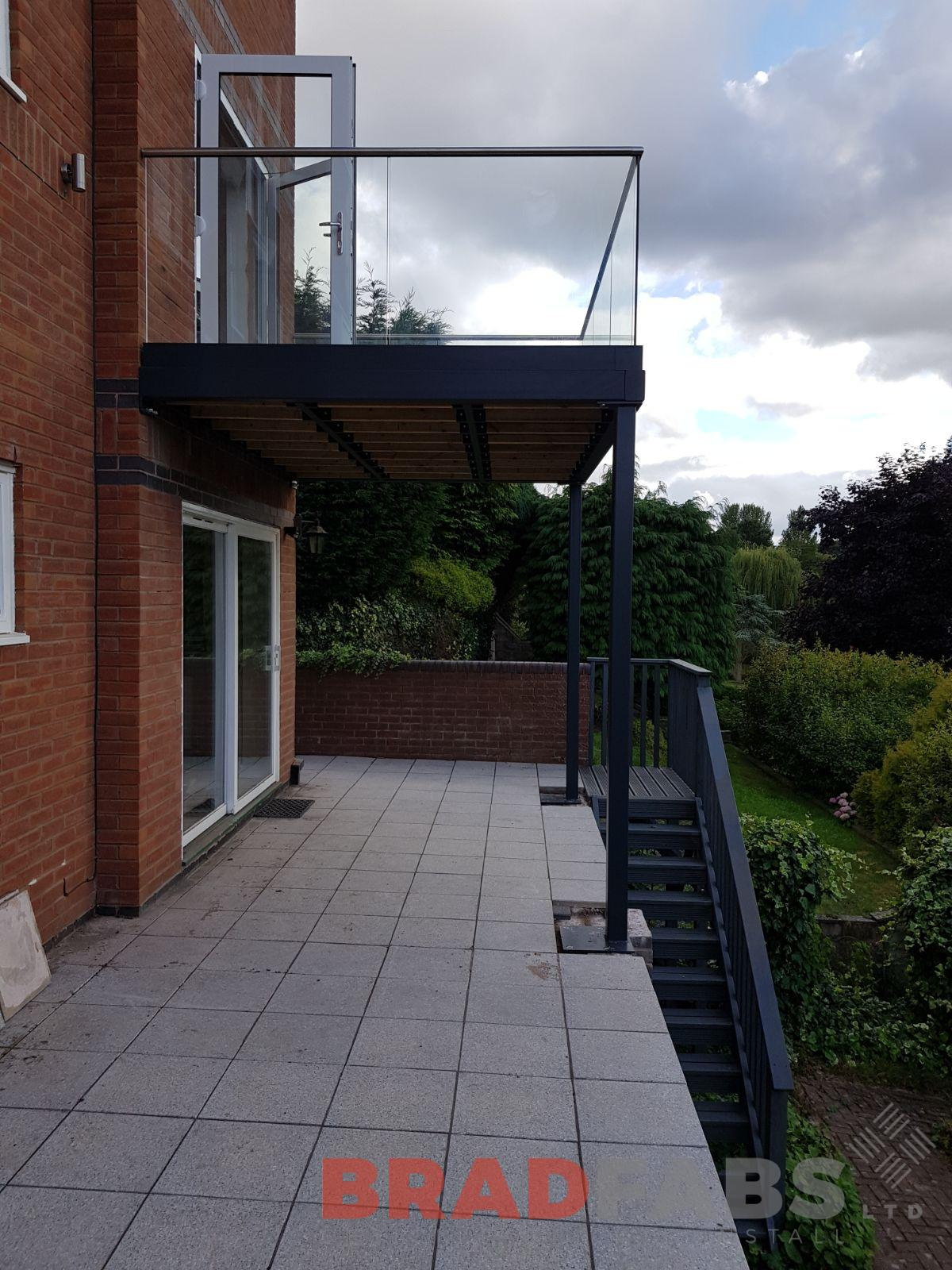 large steel balcony manufactured by Bradfabs