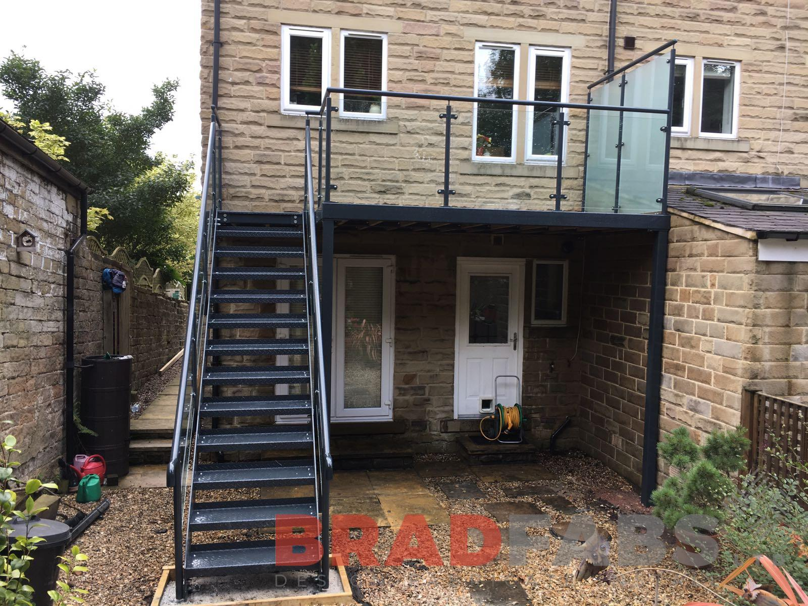 large garden steel balcony with staircase installed by bradfabs