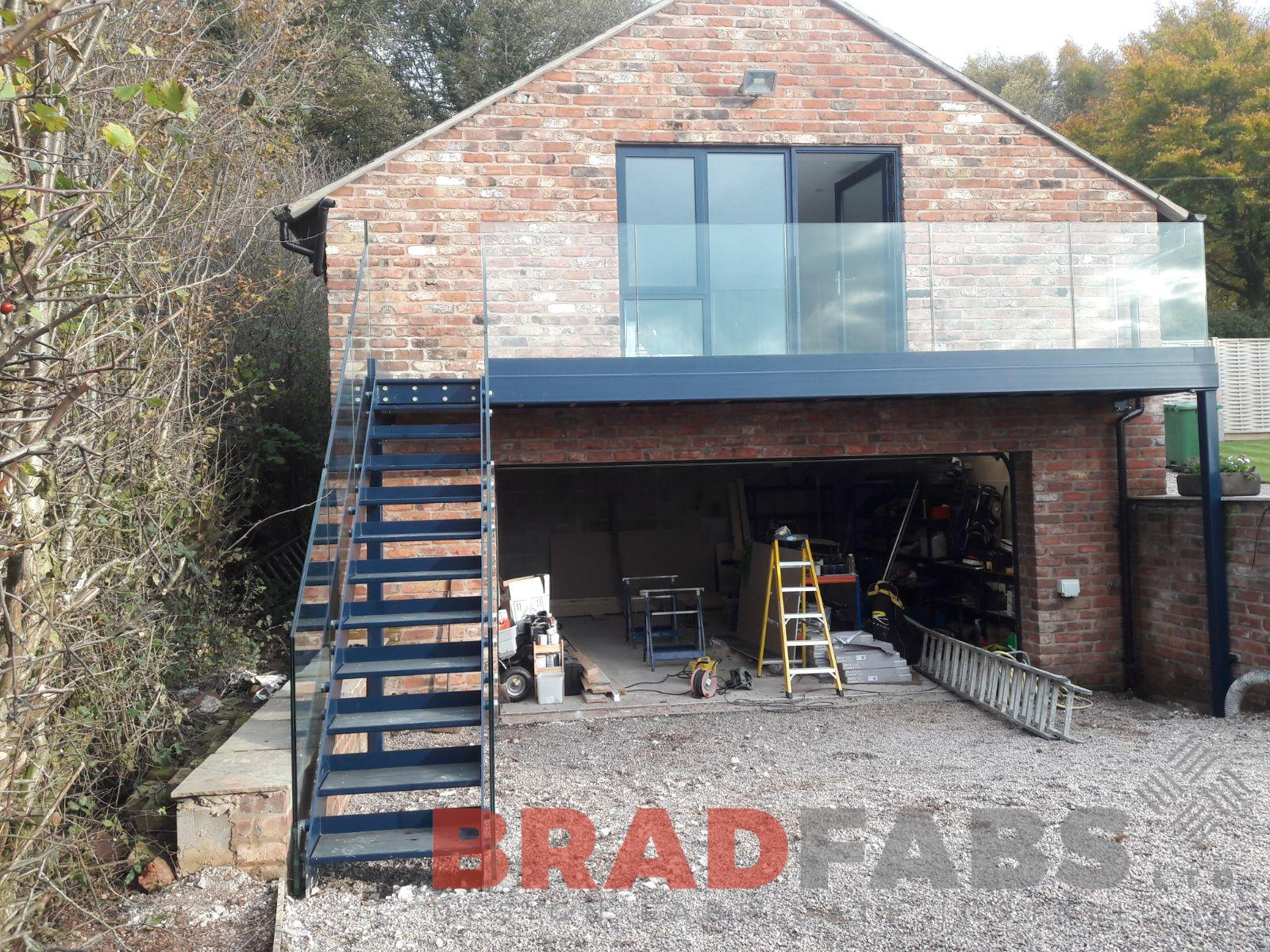 Garden access balcony and staircase manufactured by Bradfabs