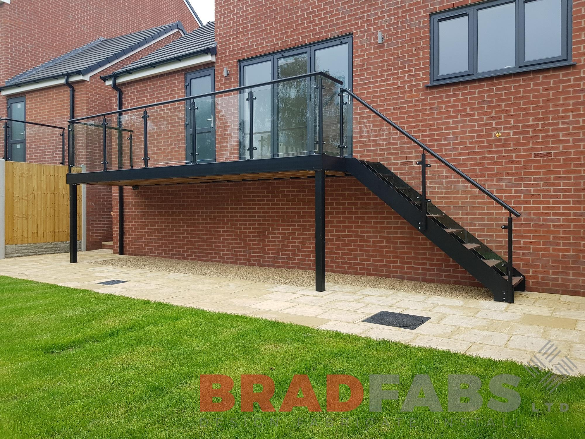 mild steel, galvanised and powder coated balcony with composite treads by Bradfabs Ltd