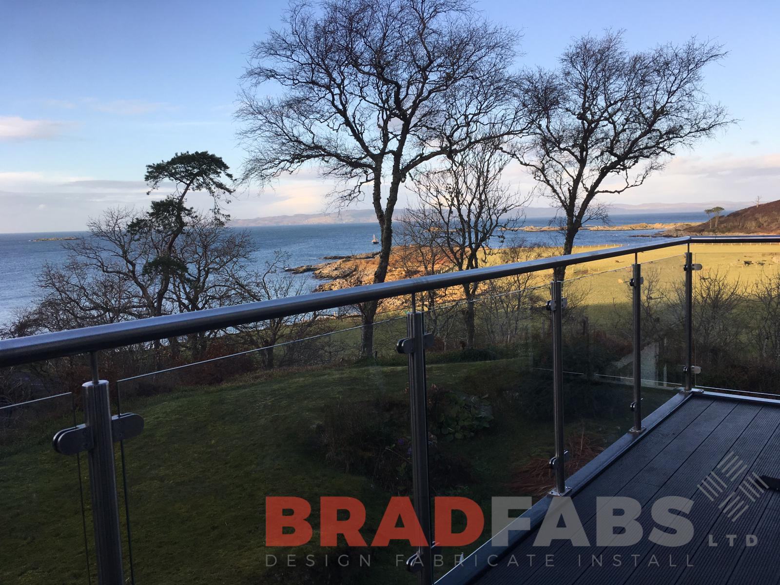 bespoke balcony, mild steel frame with glass balustrade and stainless steel toprail by Bradfabs