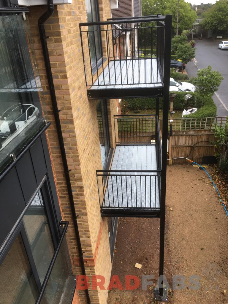 Stacked balconies by Bradfabs, BNOP5 Flooring, steelwork, bespoke manufacturing, vertical bar balustrade, balconies for flats, Bradfabs