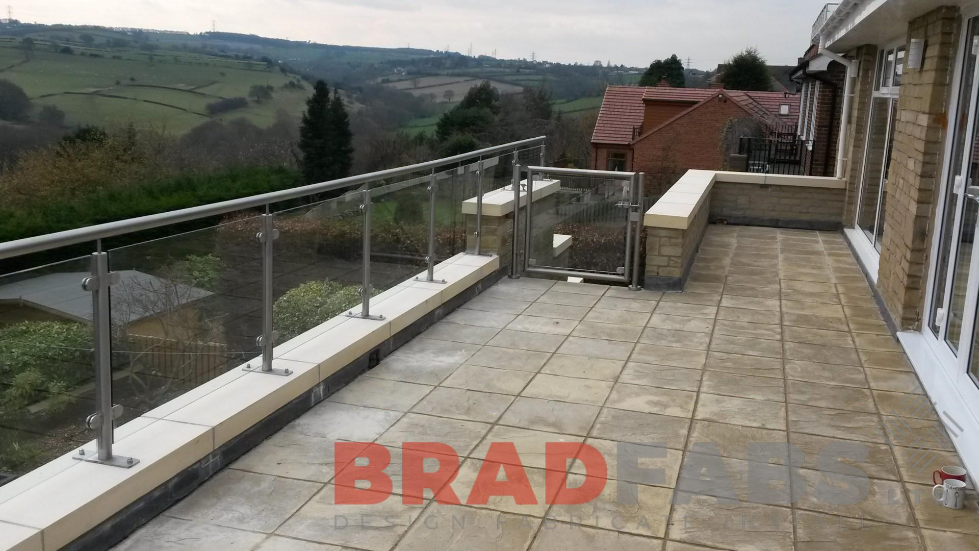Stainless steel and toughened safety glass balustrade