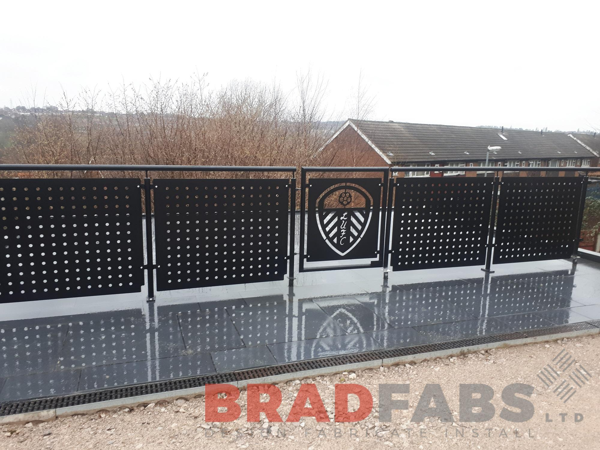 Bespoke decorative balustrade in mild steel, powder coated and galvanised by Bradfabs UK