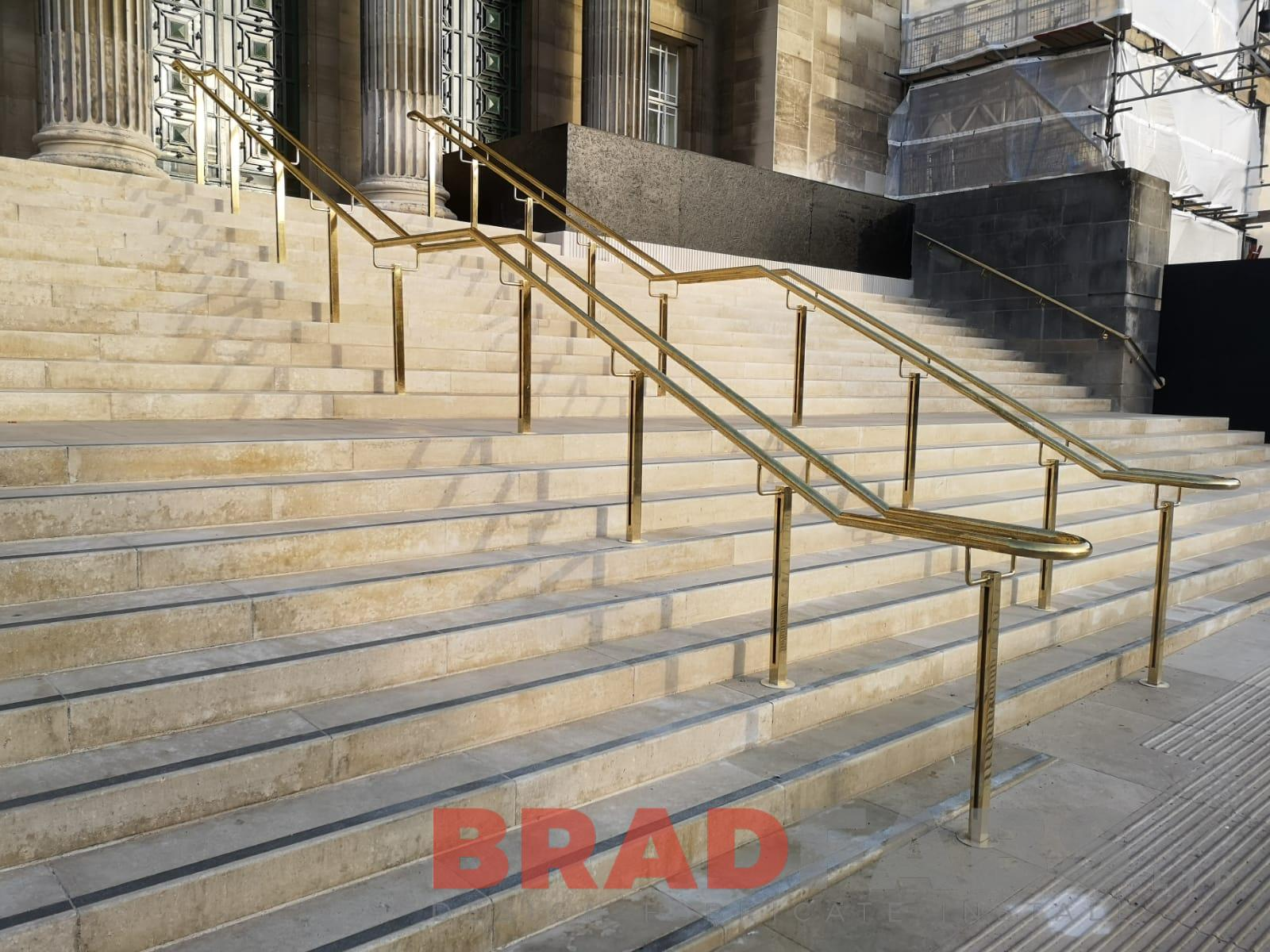 Bespoke brass handrails and balustrade for a university in West Yorkshire by Bradfabs