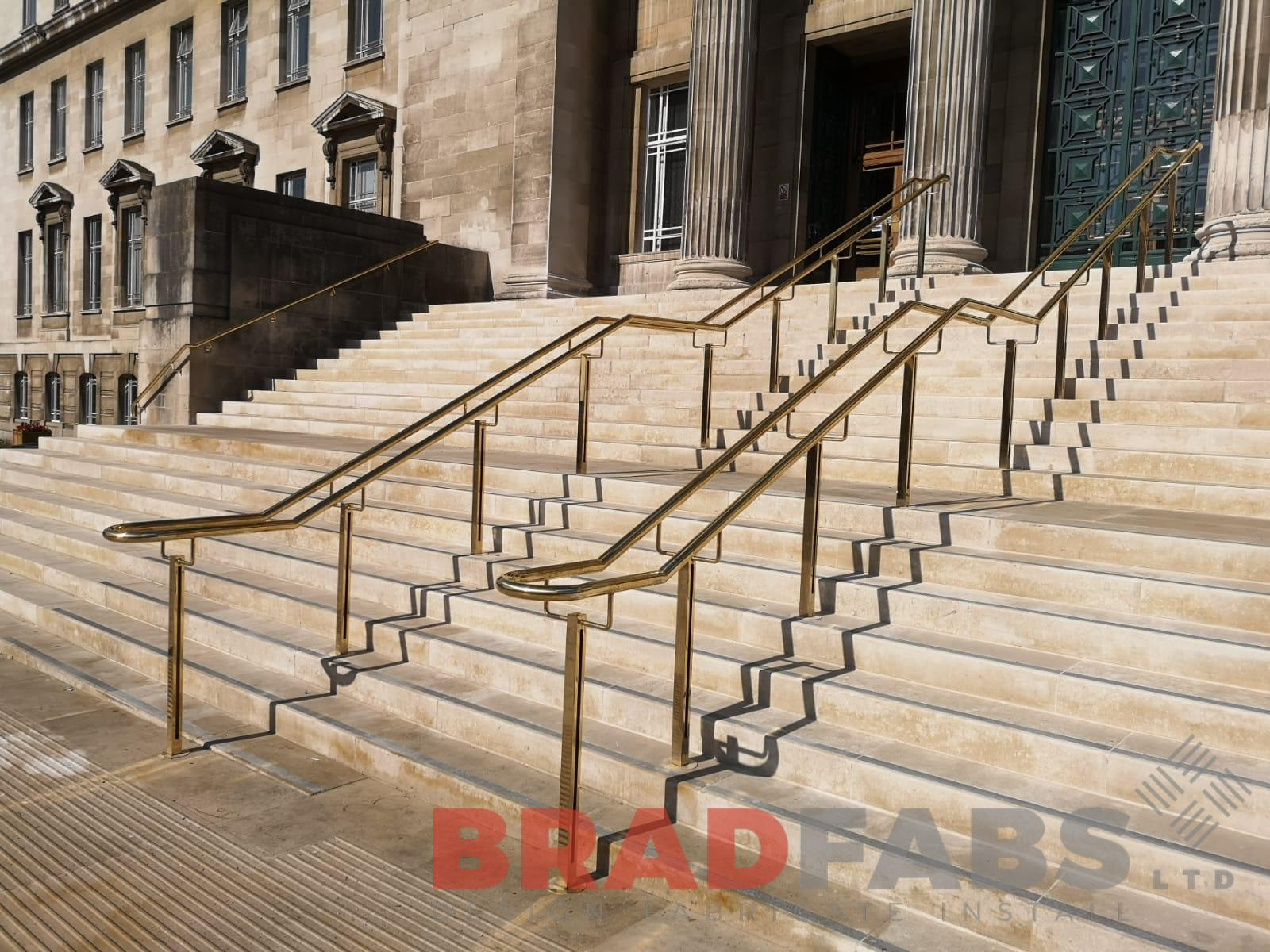 Large bespoke brass handrails and balustrade by Bradfabs