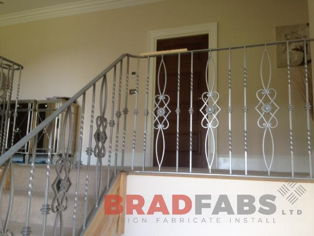 Bespoke decorative balustrade for a domestic property in mild steel and powder coated by Bradfabs