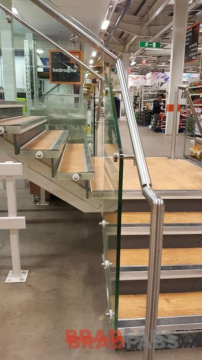 Stainless steel and glass balustrade for a commercial project by Bradfabs Ltd