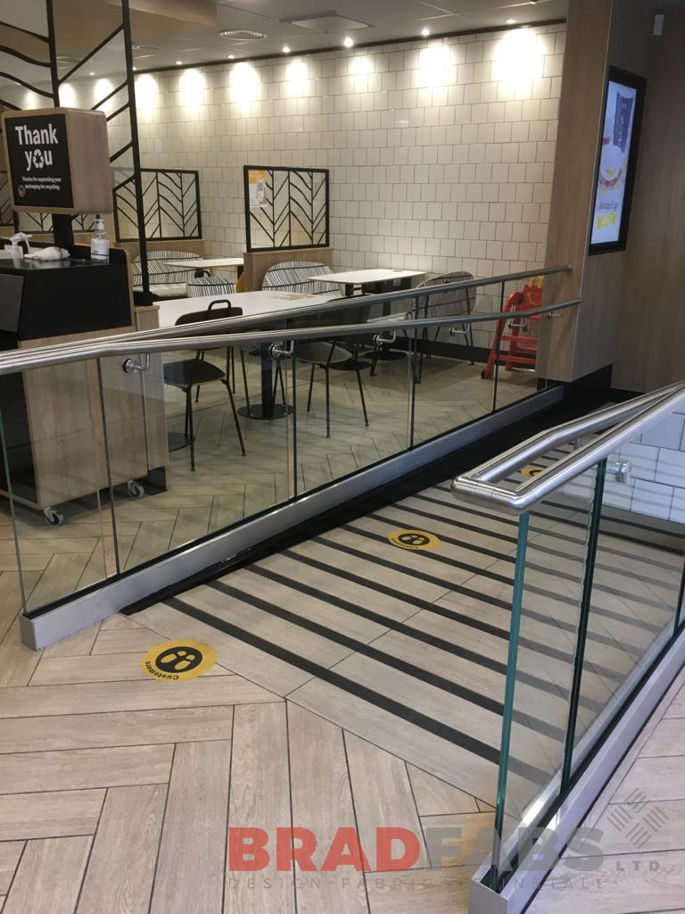 stainless steel handrail and glass balustrade for a commercial restaurant by Bradfabs Ltd