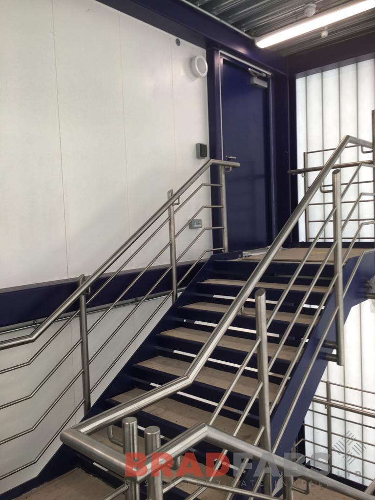 Bradfabs, stainless steel balustrade, horizontal bar balustrade, commercial property balustrade