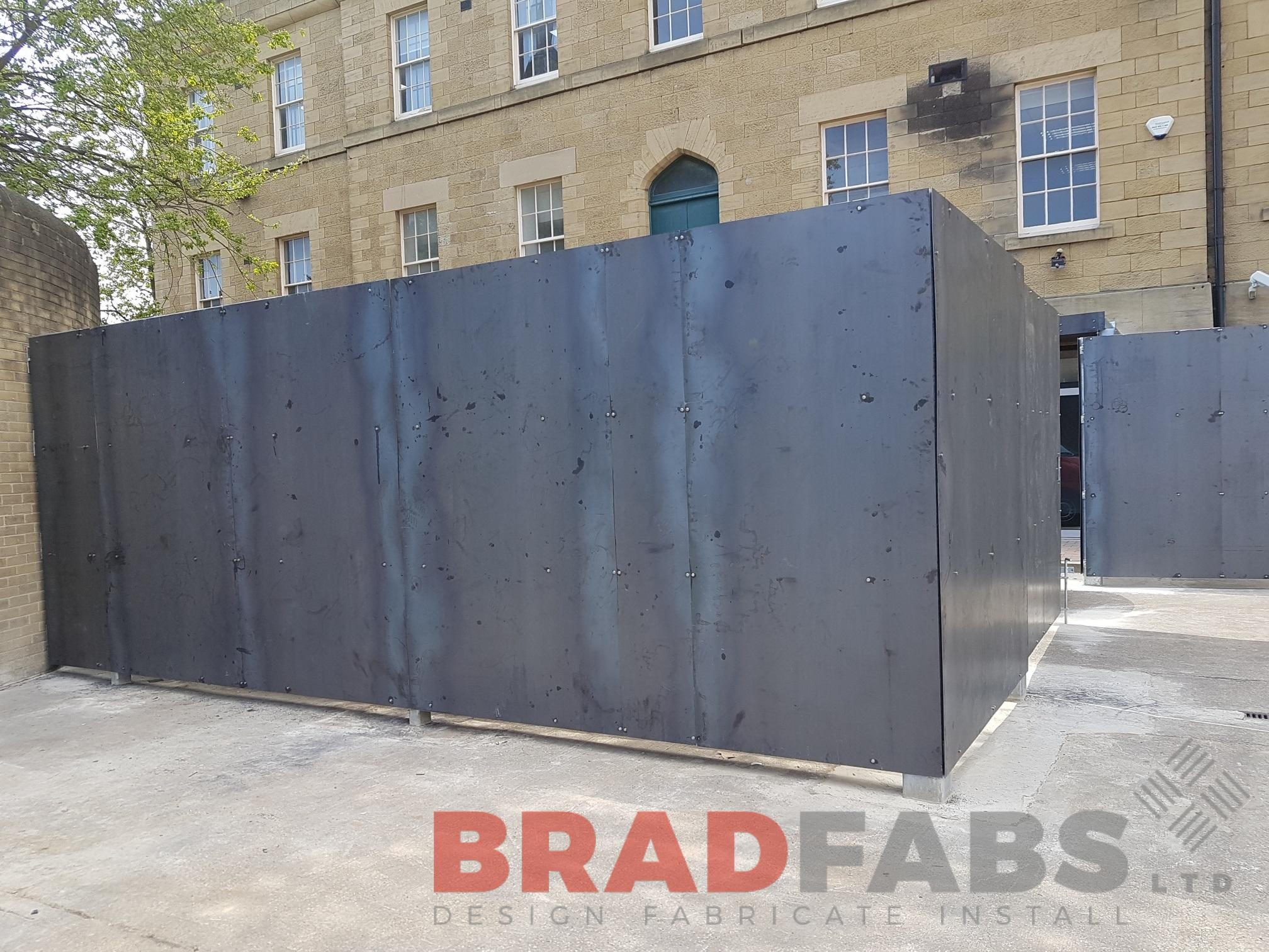 bespoke compound barrier manufactured in corten steel by bradfabs
