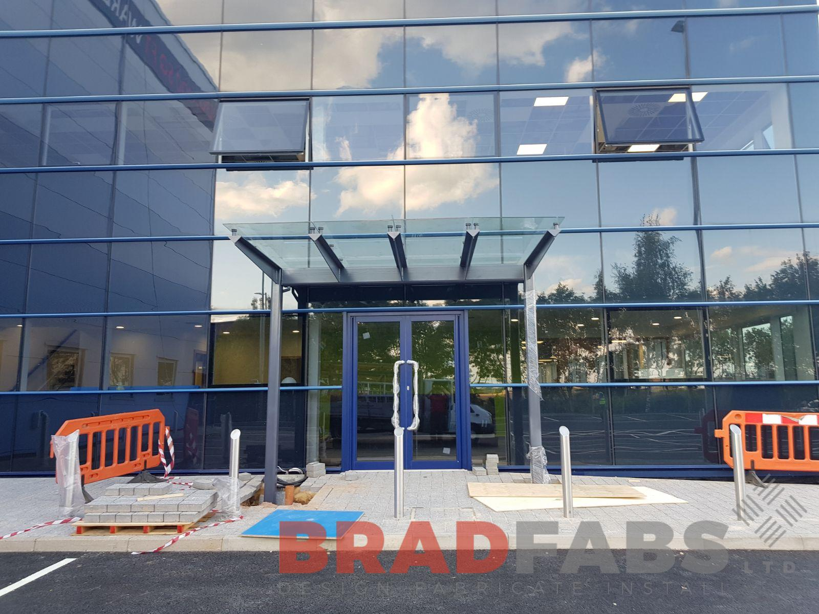 Bradfabs designed and manufactured this large entrance canopy in Hertfordshire