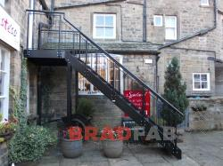Straight Staircase with Single Landing, external staircase, designed and installed by Bradfabs UK