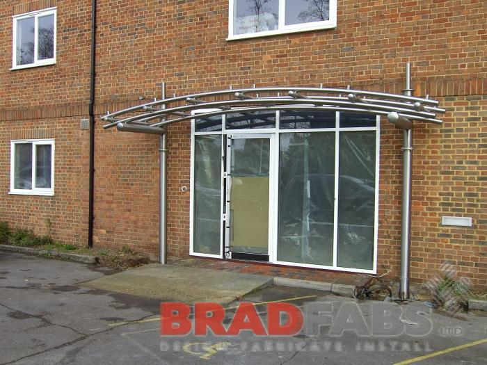 large curved canopy installed in london