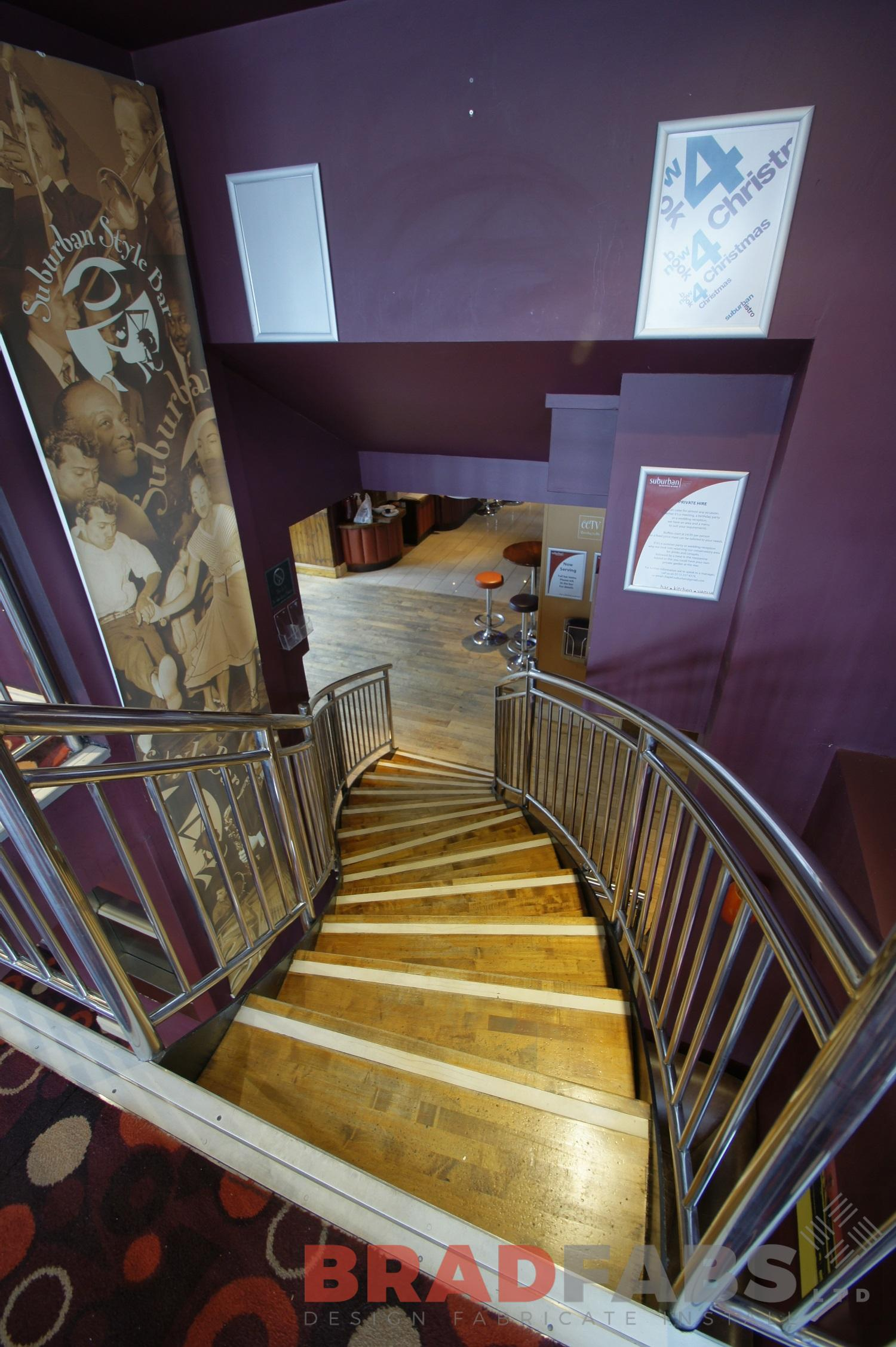 Commercial helix staircase by Bradfabs, UK manufacturers