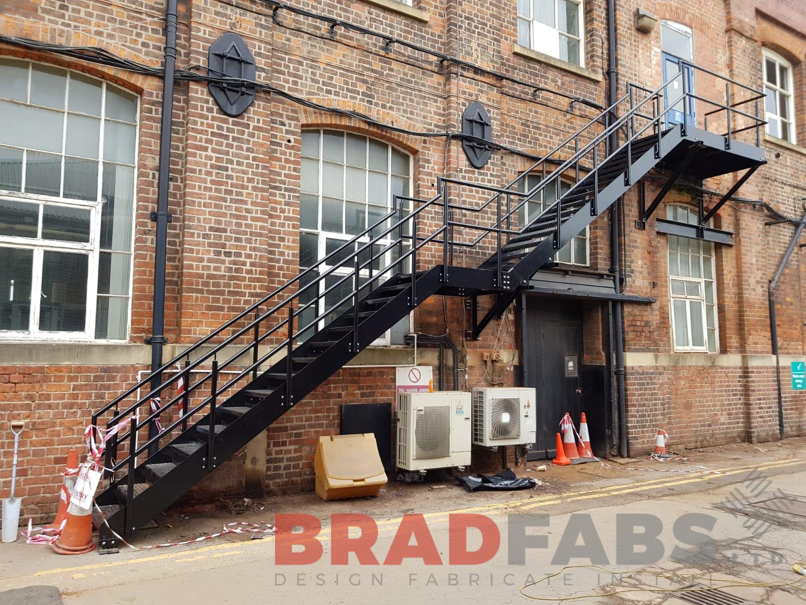 External Steel Fire Escape designed, manufactured and installed by Bradfabs