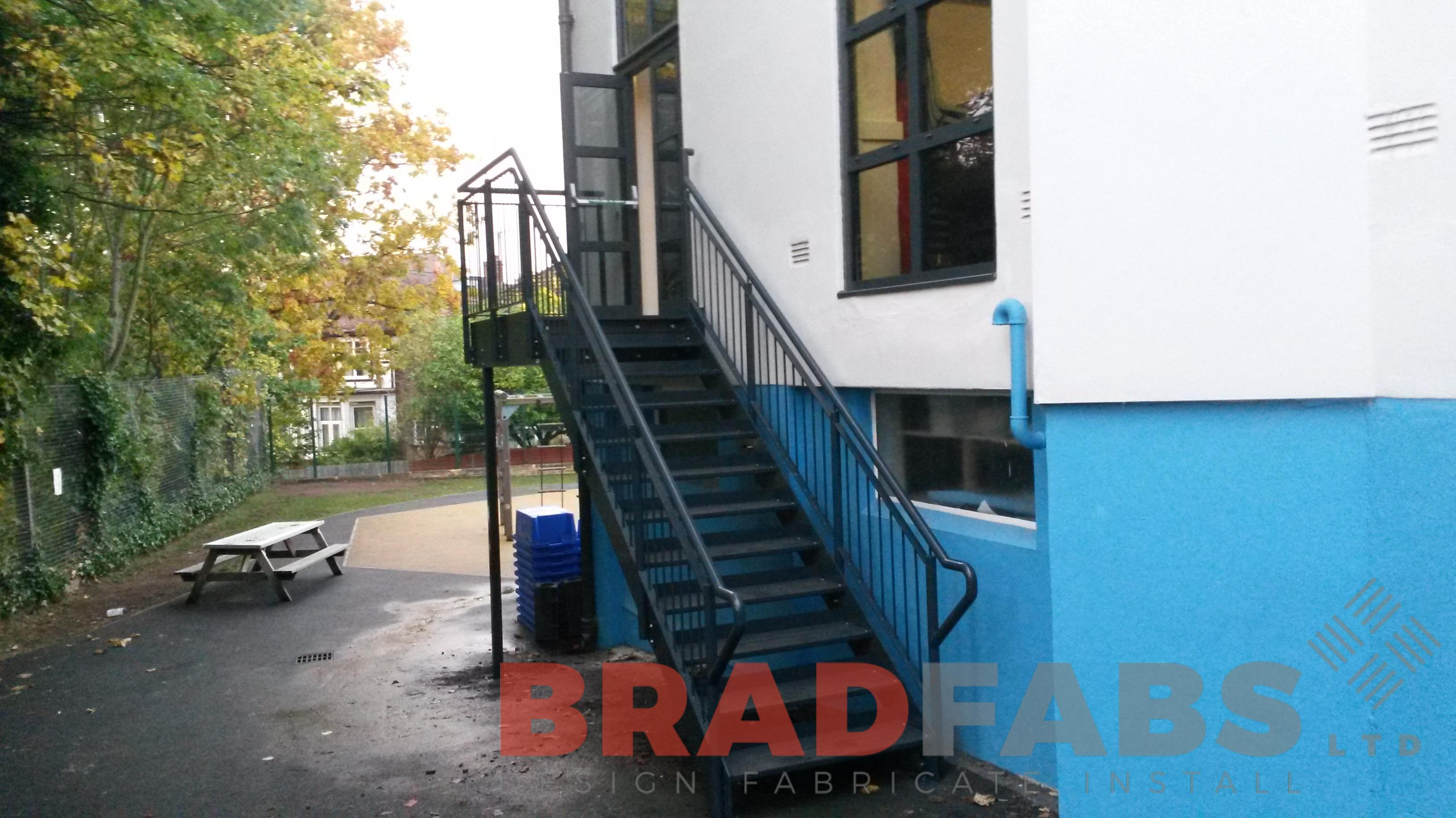 Fire Escape Staircase designed, manufactured and installed by Bradfabs, UK Manufacturers