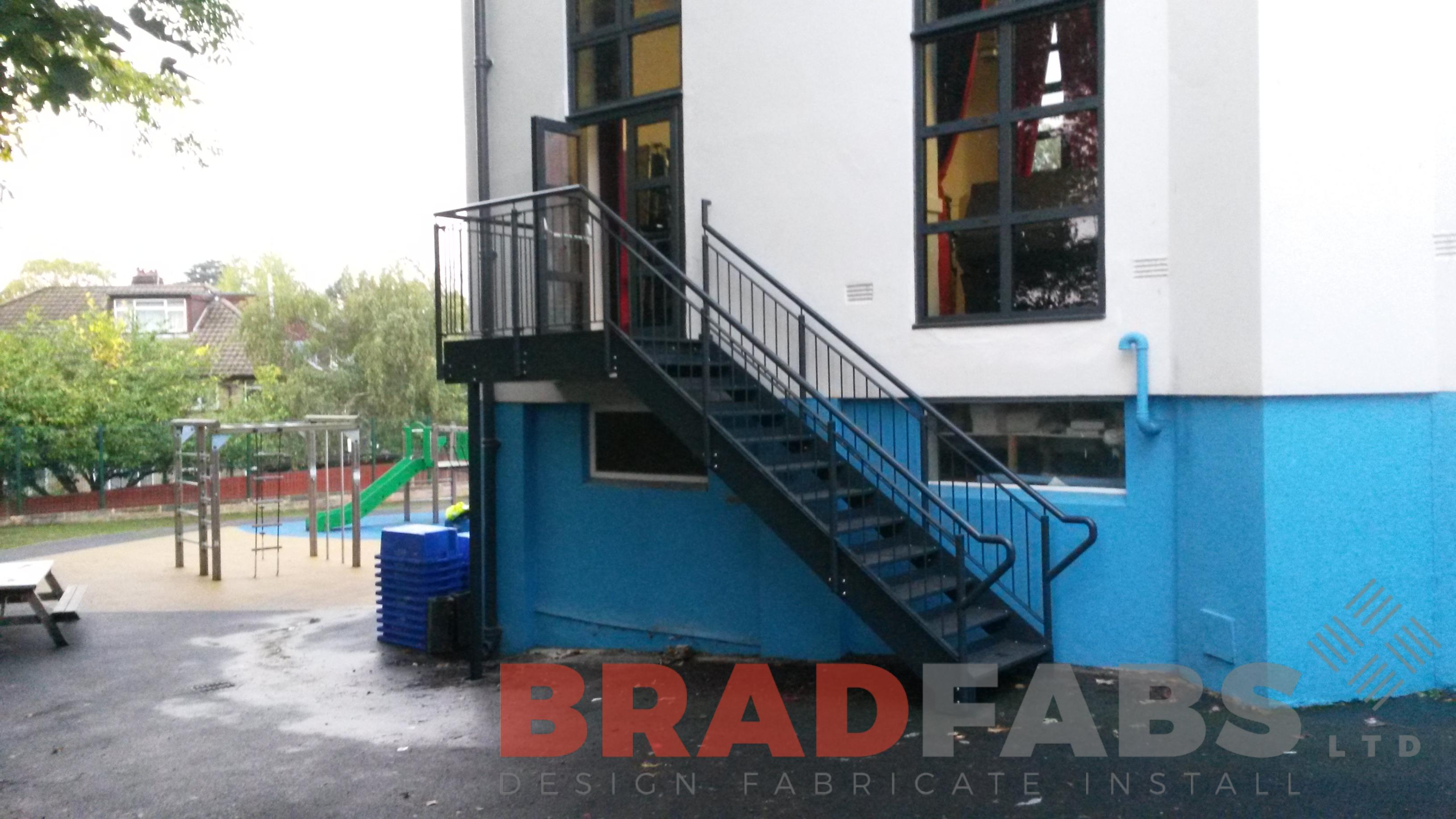 Steel access staircase for a School fabricated and installed by Bradfabs