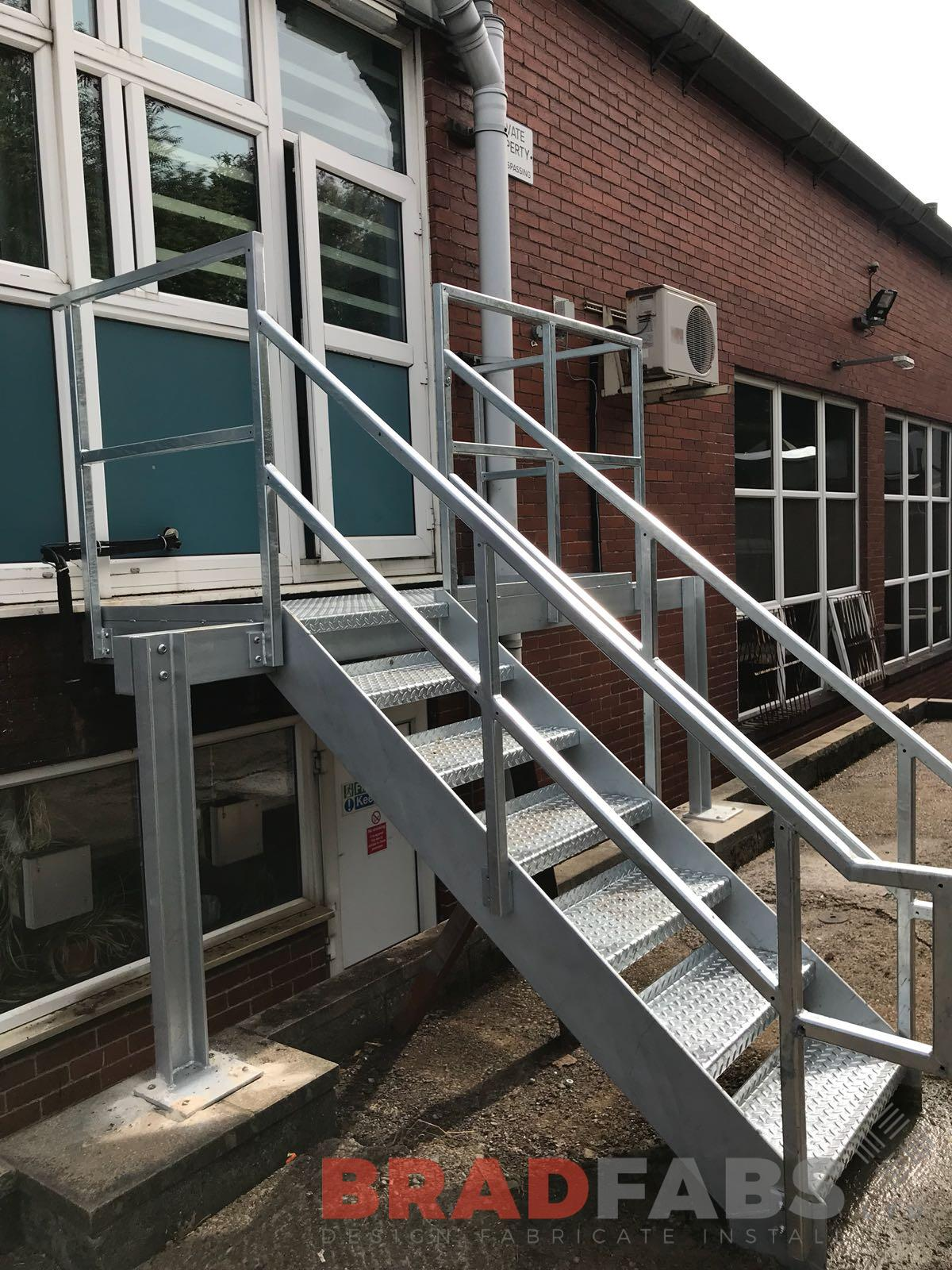 Steel Straight External Commercial Fire Escape designed, manufactured and installed by Bradfabs