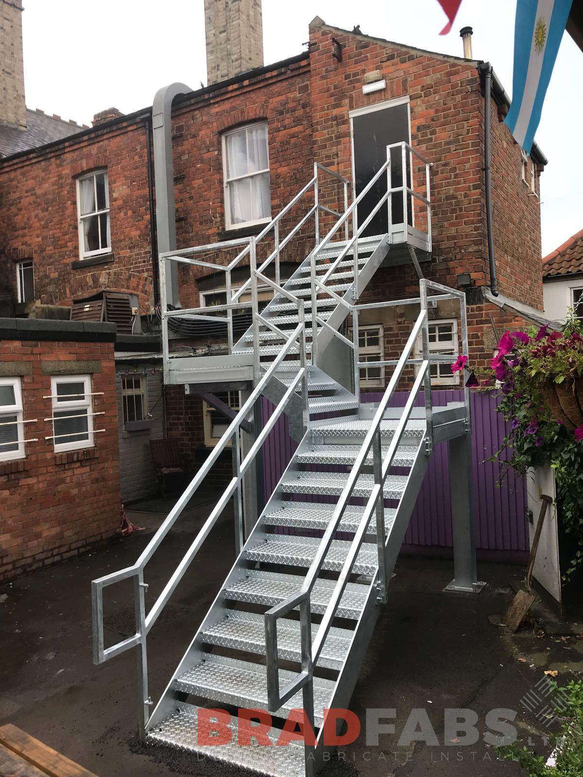 Mild steel and galvanised commercial fire escape staircase by Bradfabs