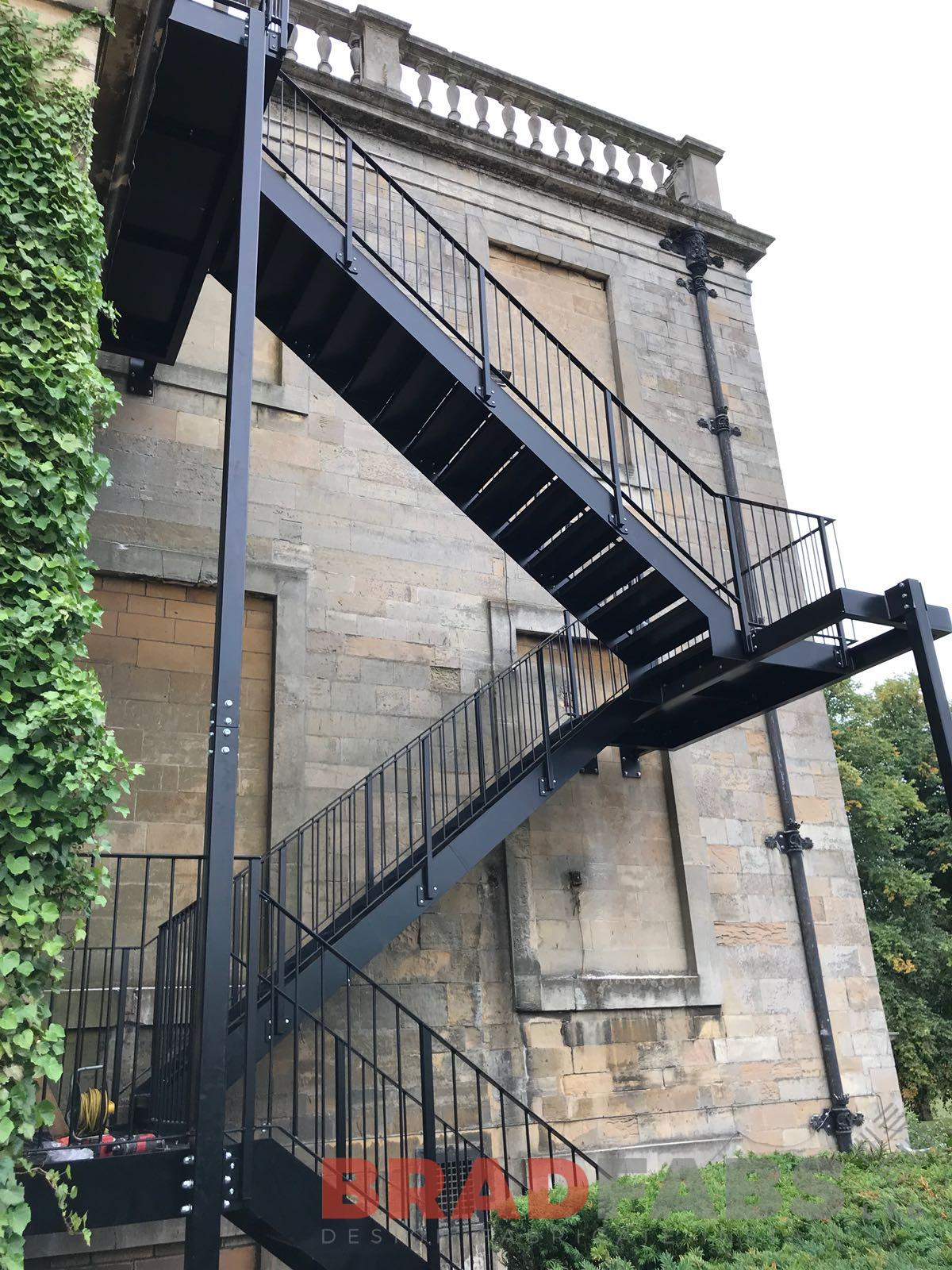 Metal external fire escape staircase galvanised powder coated black