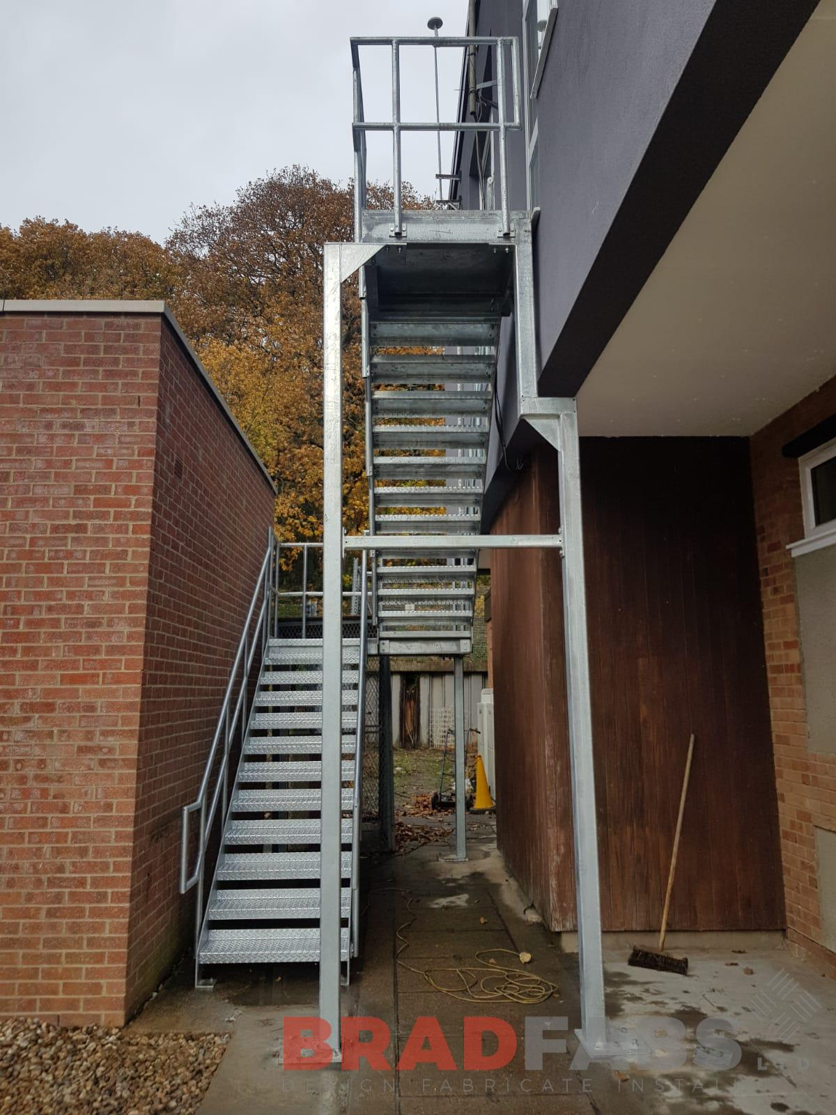 Commercial galvanised fire access staircase by Bradfabs